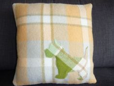 Wool Cushion Westie, upcycled wool blanket with fabulous retro style applique. $45.00, via Etsy.