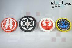 Perler bead coasters by Pixel Geex of Star Wars emblems http://www.pixelgeex.com/