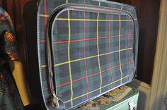 Vintage Plaid suitcase by glamtownvintage on Etsy, $25.00