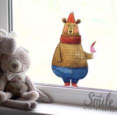 Зимний мишка - стикер на окно