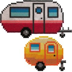 Colorful Campers Melty Bead Patterns, Hama Beads Patterns, Beading Patterns, Fuse Beads, Pearler Beads, Beads And Wire, Perler Bead Designs, 3d Perler Bead, Plastic Canvas Ornaments