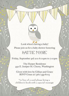 owl banner baby shower invitation, gender neutral shower invitation, digital, printable file (any colors). $13.00, via Etsy.