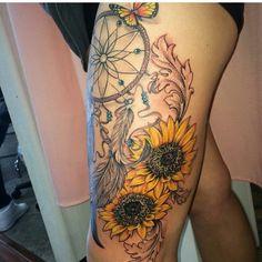 Sunflower Mandala Tattoo, Sunflower Tattoo Meaning, Sunflower Tattoo Simple, Sunflower Tattoo Shoulder, Sunflower Tattoos, Sunflower Tattoo Design, Floral Thigh Tattoos, Thigh Tattoo Designs, Design Tattoo
