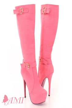 Coral Faux Suede Knee High Pink Bottom Boots
