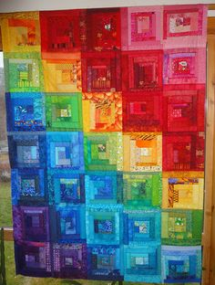 Log-cabin rainbow by tubakk-quilt Allison Lane Quilts scrappy quilt-along. Patchwork Quilt, Batik Quilts, Scrappy Quilts, Log Cabin Quilt Pattern, Log Cabin Quilts, Log Cabins, Bright Quilts, Colorful Quilts, Quilt Festival