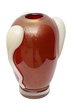 Murano Art Glass Red Vase Signed Pino Signoretto