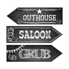 Western Themed DIRECTIONAL signs CUSTOMIZABLE to by PSPrintables