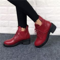 New Fashion Women's Lace Up Combat Punk Ankle Martin Boots Female Shoes Autumn  Winter Hot Sell