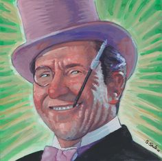 Burgess Meredith as the Penguin Done on 6x6 inch Aquabord with Winsor & Newton Gouache Paints