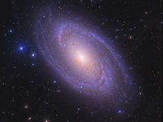 Messier 81, also called Bode's Galaxy, is a spiral galaxy located about 12 million light years away. It is visible in the Northern Hemisphere through binoculars or small telescopes in the constellation Ursa Major, near the halfway point between the edge of the Big Dipper, and the North Star.