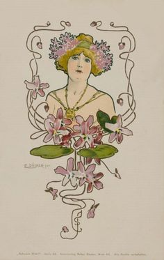 Purple Flowers.1900. Serie : Tough Choice. Art Nouveau post card.  Signed E. Döcker.jun.