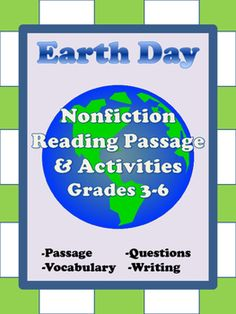 Earth Day Reading Passage & Activities, includes:- nonfiction passage-comprehension questions-vocabulary activity -written response-answer keyYou may also like Earth Day Reading Passage & Activities, Grades 2-3 ***TpT Customer Tip:***You can earn credit for future TpT purchases by rating material that you have downloaded.