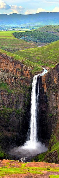 39.Maletsunyane Falls, Lesotho Maletsunyane Falls is a 192-metre-high (630 ft) waterfall in the Southern African country Lesotho. It is located near the town of Semonkong (Site of sme), which also is named after the falls. The waterfall is on the Maletsunyane River and it falls from a ledge of Triassic-Jurassic basalt.
