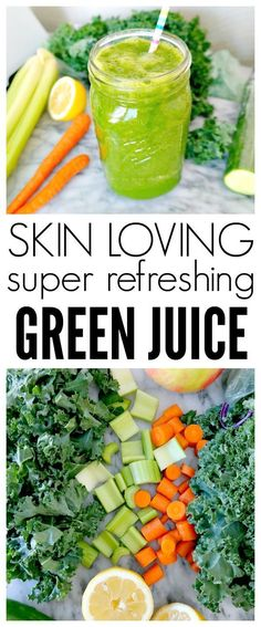 Skin Loving Super Refreshing Green Juice Recipe Vegan and Plant Based Hydrating energizing and packed with nutrients like turmeric for beautiful skin Perfect for green juice beginners or green lovers alike From The Glowing Fridge vegan green juice #