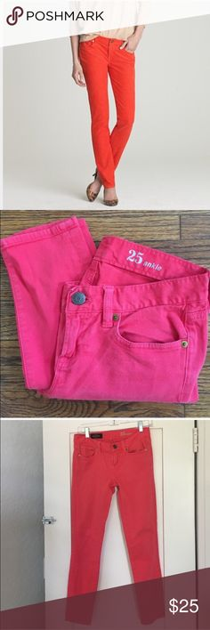 "J Crew red toothpick jeans Great faded red color, perfect for fall. Size 25 ankle. Inseam is 27"". No condition issues. Cotton/elastane. 5 pocket style. Color is closest to the last pic. J. Crew Jeans Skinny"