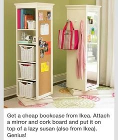 diy idea for small spaces..saves a ton of room! #bookcase #diy