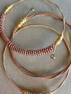 Set of 3 guitar string bracelet guitar by ChapterIIICreations, $40.00