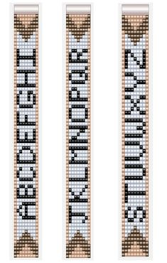 Alphabet Letter Patterns for Miyuki Beadloom Bracelets 7 col.- Alphabet Letter Patterns for Miyuki Beadloom Bracelets 7 columns A-Z - Loom Bracelet Patterns, Seed Bead Patterns, Bead Loom Bracelets, Beaded Jewelry Patterns, Weaving Patterns, Mosaic Patterns, Knitting Patterns, Native Beading Patterns, Embroidery Patterns