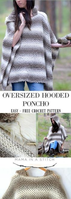 Driftwood Oversized Crochet Hooded Poncho Pattern via This free crochet pattern is so easy and it looks so cozy! Perfect for fall or winter. So simple yet pretty! Haube in Übergröße Driftwood Oversized Crochet Hooded Poncho Pattern Beau Crochet, Poncho Au Crochet, Pull Crochet, Crochet Scarves, Crochet Clothes, Crochet Stitches, Knit Crochet, Crochet Sweaters, Crochet Cape