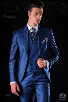 Italienisch blaue Anzug mit abfallendes Revers, 2 Knöpfe, Ticket Pocket und Seitenschlitze aus Fil-a-Fil Wollmischung Stoff. Bräutigam Anzug 1764 Kollektion Gentleman Ottavio Nuccio Gala.