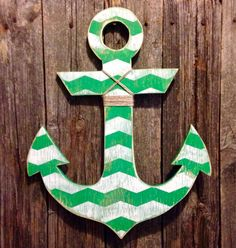 Large distressed kelly green and white chevron wood anchor with nautical jute wall hanging nautical Christmas by NautiWoodWorks on Etsy