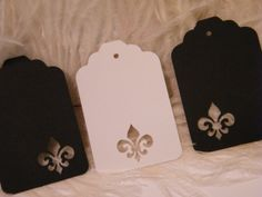 24 Black and  White Fleur de Lis Placecards / Gift Tags / Escort Cards / Price tag- DIY Wedding Wish Tree Tags