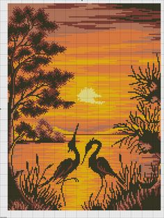 Finished/Counted cross stitch/Picture COUPLE BIRDS/SUNSET at lake/Love sandhill crane/Stitchery art gift/Sunset sky at lake/Finished embroidery/Sky wall art decor/Couple stitch gift/Sky cross stitch/Birds cross stitch/Love gift stitch Cross Stitch Sea, Cross Stitch Animals, Modern Cross Stitch, Cross Stitch Charts, Cross Stitch Designs, Cross Stitch Patterns, Cross Stitching, Cross Stitch Embroidery, Pixel Art