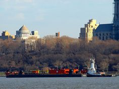 Tugboat with Barge, Hudson River, New York City