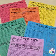 Parent Handouts to keep kids learning at home. Fun easy activities parents can do. Perfect or preschool, pre-k, and kindergarten. Preschool Homework, Kindergarten Classroom, Classroom Ideas, Preschool Ideas, Kindergarten Orientation, Kindergarten Newsletter, Parent Newsletter, Kindergarten Graduation, Classroom Organization