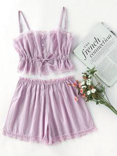 Camicia a contrasto in pizzo con pantaloncini set da pigiama-Italian SheIn(Sheinside)