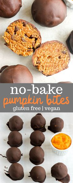This no bake pumpkin bites recipe is easy to make and full of healthy ingredients like almond flour pumpkin puree and maple syrup. This recipe is also perfect for gluten-free and vegan eaters! Use paleo chocolate to make them suitable for the paleo diet. Pumpkin Bites Recipe, Pumpkin Puree Recipes, Pureed Food Recipes, Dessert Recipes, Healthy Pumpkin Recipes, Vegan Recipes, Coconut Recipes Healthy, Easy Gluten Free Recipes, Pizza Recipes