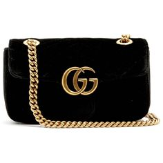 Gucci GG Marmont mini quilted-velvet cross-body bag ($1,290) ❤ liked on Polyvore featuring bags, handbags, shoulder bags, quilted handbags, quilted cross body purse, crossbody shoulder bag, quilted crossbody purse and gucci handbags