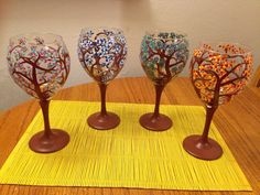 Four Seasons Hand Painted Wine Glasses by LessThanThree Designs  www.facebook.com/lessthanthreedesigns