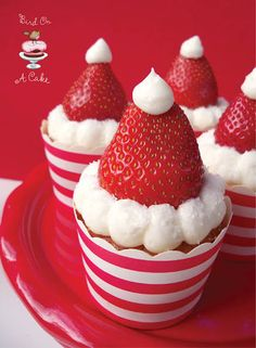 Strawberry Santa Hat Cupcakes