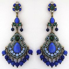 Badgley Mischka Blue Chandelier Earrings. Indian inspired, ethnic & colorful.