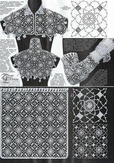 Duplet 196 Ukrainian Russian new crochet patterns magazine book December 2017 Crochet Stitches Chart, Crochet Doily Diagram, Crochet Yoke, Crochet Symbols, Crochet Mandala Pattern, Crochet Buttons, Crochet Collar, Freeform Crochet, Thread Crochet