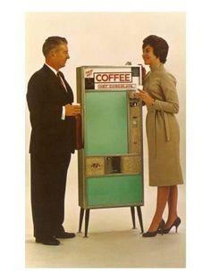size: Art Print: Standing by the Coffee Vending Machine Art Print : Artists Vintage Ads, Vintage Prints, Unique Vintage, Vintage Posters, Vintage Style, Coffee Time, Coffee Cups, Vending Machine Business, Bunn Coffee