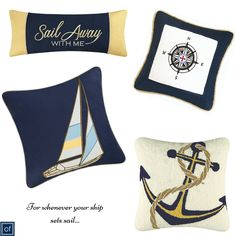 Set #sail with our assortment of #nautical themed #pillows #CFEnterprises