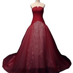 Kivary White and Wine Red Bridal Wedding Dresses with Floral Lace Strapless Plus Size US 16W. Strapless curved v neck with fitted A line skirt, Elegant white lace flowers inside with colored red/wine red/royal blue/gray outside, Court train, Lace up back, Ruched pleated top designs. This is a custom made dress even if standard size. Please find a soft tape to measure yourself and check size chart, keep tape loose, otherwise will be too tight or large for you. For custom made size, please...