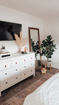 How to hide a cable box, gaming station or pvr! Make this stylish electronics cover in 5 minutes! @theblushhome Room Ideas Bedroom, Home Bedroom, Bedroom Inspo, Ikea Boho Bedroom, Mirror In Bedroom, Master Bedroom Furniture Ideas, Cozy Bedroom Decor, Master Bedroom Decorating Ideas, Ikea Room Ideas