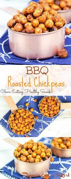 Crispy BBQ Roasted Chickpeas reicpes.  A simple, easy to make, clean eating, homemade healthy snack! Taste like BBQ potato chips- yum! | Running in a Skirt
