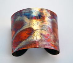 Etched Copper Eagle Cuff Bracelet by annamcdade on Etsy.  Colorized by Painting with a Flame