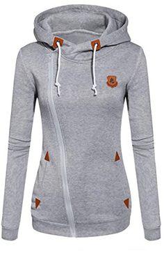 2b52aaede87 Fanala Women s Cotton Zip Pockets Long Sleeve Hoodies Pullovers Sweatshirts  Tops at Amazon Women s Clothing store  Women Fashion Fleeces Sweatshirts  Hooded ...