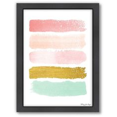 Americanflat Paint Strokes Framed Wall Art, Gold ($66) ❤ liked on Polyvore featuring home, home decor, wall art, gold, gold home decor, vertical wall art, pink wall art, gold wall art and gold home accessories
