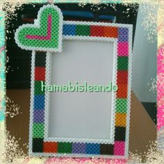Heart photo frame hama beads by Graciela GG