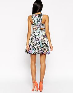 Image 2 of ASOS Bright Pansy Cut Out Skater Dress Cut Out Skater Dress 752d4aa45