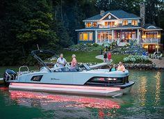 2018 Grand Tahoe pontoon boat floating near luxury lake house Luxury Pontoon Boats, Best Pontoon Boats, Speed Boats, Power Boats, Kayak Fishing, Saltwater Fishing, Bowfishing, Boat Stuff, Lake Cabins