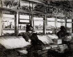 1921 Edward Hopper House Tops, Toits, Eau-forte, 15,2x20,3cm