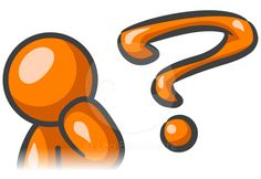 Orange man pondering and question mark.