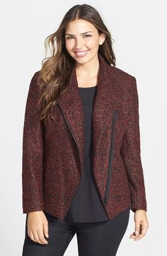 63719547354 Free shipping and returns on Sejour Twist Bouclé Zip Front Jacket (Plus  Size) at